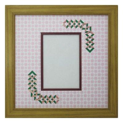 画像1: L版写真 三角形 古紙風×小紋 R