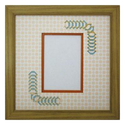 画像1: L版写真 台形 古紙風×小紋 Y