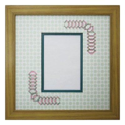 画像1: L版写真 台形 古紙風×小紋 G