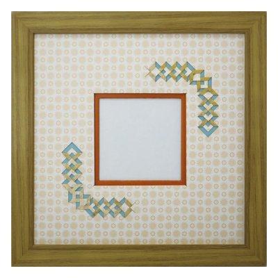 画像1: スクエア79 三角形 古紙風×小紋 Y