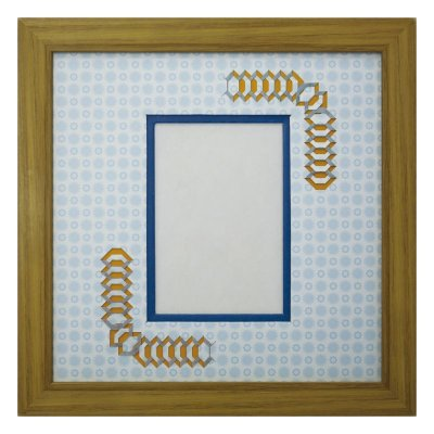 画像1: L版写真 台形 古紙風×小紋 B
