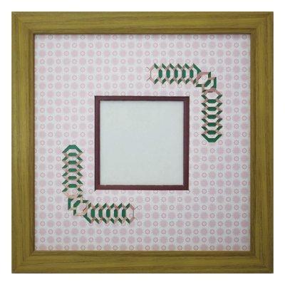 画像1: スクエア79 台形 古紙風×小紋 R