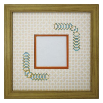 画像1: スクエア79 台形 古紙風×小紋 Y