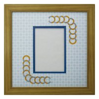 L版写真 円形 古紙風×小紋 B