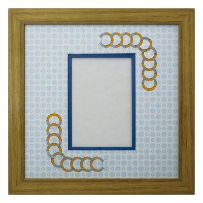 画像1: L版写真 円形 古紙風×小紋 B