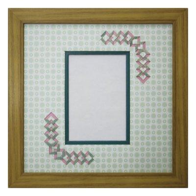 画像1: L版写真 三角形 古紙風×小紋 G