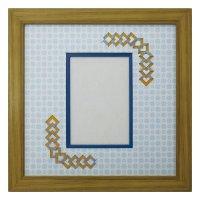L版写真 三角形 古紙風×小紋 B