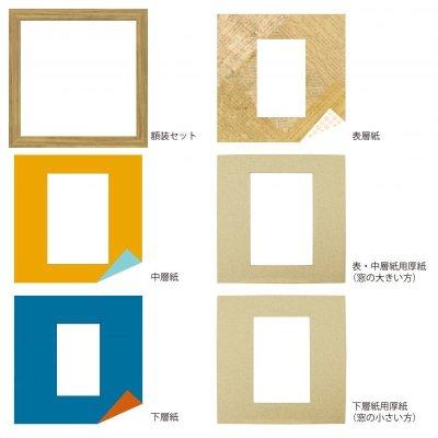 画像4: ポストカード 三角形 古紙風×小紋 Y