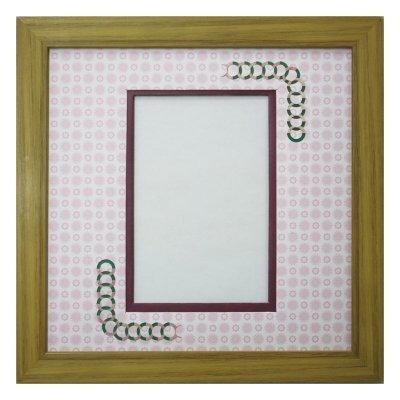 画像1: ポストカード 円形 古紙風×小紋 R