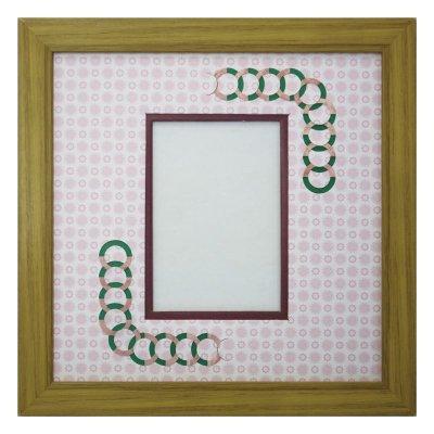 画像1: L版写真 円形 古紙風×小紋 R
