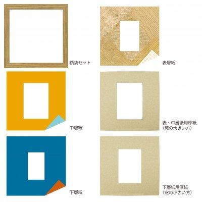 画像4: L版写真 台形 古紙風×小紋 Y