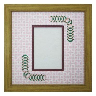画像1: L版写真 台形 古紙風×小紋 R
