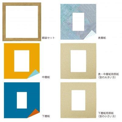 画像4: L版写真 台形 古紙風×小紋 B