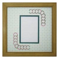 L版写真 円形 古紙風×小紋 G