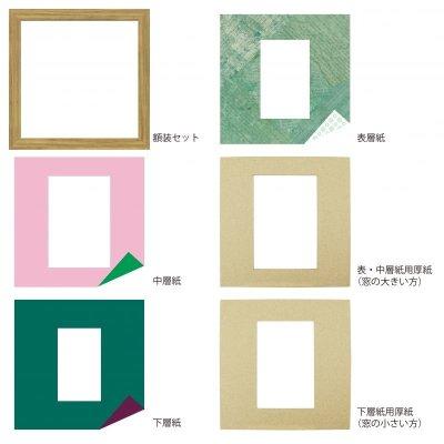 画像4: ポストカード 台形 古紙風×小紋 G