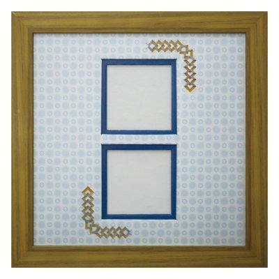 画像1: スクエア62W 三角形 古紙風×小紋 B