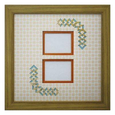 画像1: チェキW 三角形 古紙風×小紋柄 Y