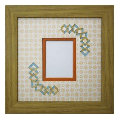 画像1: チェキS 三角形 古紙風×小紋柄 Y